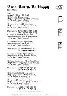 Don't Worry Be Happy.  Lyrics & music chords for Ukulele.