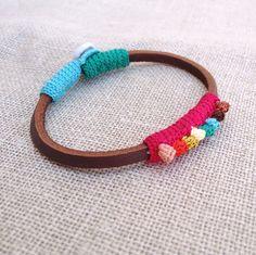 Leather & crochet cotton dots friendship bracelet