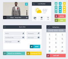 This free set of flat web elements includes a phone interface, a contact form, a search bar, a video player, various buttons and icons, and more.