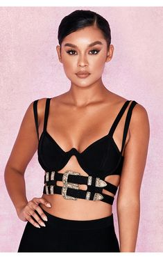 020283f09e0 This amazing bralet is crafted from our incredible stretch bandage fabric.  It features a double belt detail to the underbust and looks amazing teamed  with a ...