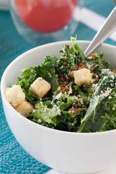 A crisp kale salad is the king of all Caesars. Epicure Recipes, Yummy Recipes, Recipies, Kale Caesar Salad, Kale Salad, Good Food, Yummy Food, Vegetarian Cheese, Yummy Eats