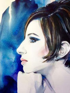 Fan Art of Barbra Streisand for fans of Barbra Streisand 40779464 Robert Redford, Wedding People, Hello Gorgeous, Beautiful, Celebrity Drawings, Barbra Streisand, Art For Art Sake, Watercolor Portraits, Vintage Movies