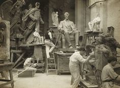 """artistandstudio:    Adolph Weinman at work, ca. 1906  Weinman is best remembered as the designer of the Walking Liberty Half Dollar and the """"Mercury"""" dime along with various medals for the Armed Services of the United States."""