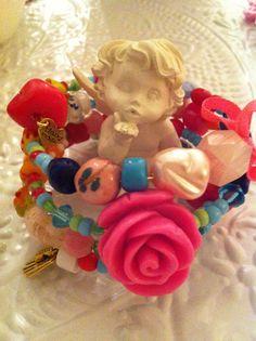 Armband van glaskralen en een roos!