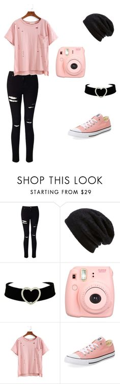 """""""Bubblegum Pop"""" by jen-top ❤ liked on Polyvore featuring Miss Selfridge, Barefoot Dreams, Polaroid and Converse"""