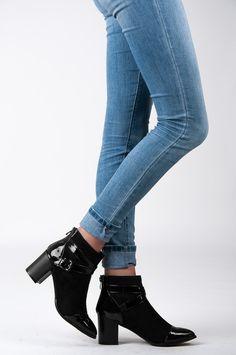 Damskie buty czarne botki klamra zamsz HIT #196091 (5675694347) - Allegro.pl - Więcej niż aukcje.