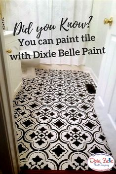 Did you know that you can paint tile with Dixie Belle Paint? This bathroom was painted with the color Caviar. #dixiebellepaint #bestpaintonplanetearth #chalklife #homedecor #doityourself #diy #chalkmineralpaint #chalkpainted #easypeasypaint #makingoldnew #whybuynew #justpainting #paintedfurniture