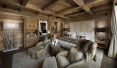 I love chalet and cabin style! And chalet living rooms are really special, as they are spacious, warm and so inviting! In such a room you think only about relaxation, about reading a book in front of .