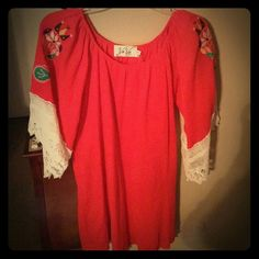 "Dress VaVa dress, short, 31"" length, red with bell sleeves, sleeves have decorative embroidery and lace trim. Worn once. Excellent condition. VaVa Dresses Mini"