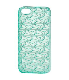 Mint green smart-phone case with textured transparent surface. Fits iPhone 5/5s.  | H&M Pastels
