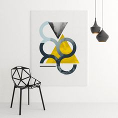 Coton canvas print, abstract triangles,geometric wall art,minimalist art,modern art,graphic design, hand signed,limited edition print