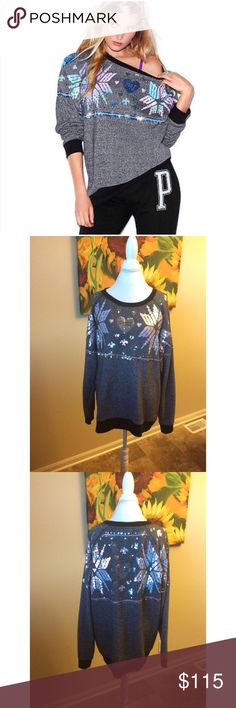 *RARE* PINK Snowflake Bling Crew PINK Snowflake Bling Sequin Crew ❄️SOLD OUT EVERYWHERE❄️  ✨condition?: new ✨worn? worn once & washed once ✨style: crew, oversized  ✨size: M, but can easily fit L or XL ✨insanely comfy and soft ✨blue sequin snowflake design on front & back ✨EXTREMELY RARE - priced accordingly ✨color: dark grey w/ black trim ✨flaws?: none ✨wear? tiny bit of pilling inside of sleeve - not noticeable/easily removed ✨material: 80% cotton, 20% polyester   - being sold elsewhere for…