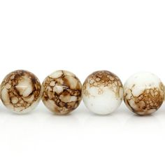 20 Brown and White Tie Dye Glass Beads by OverstockBeadSupply, $1.75