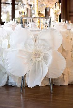 Oversized White Flowers | wedding decor | chair decor