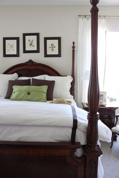 Brown, green and white in bedroom. Idea for bringing green in on bedspread