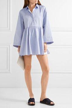 Sandy Liang - Cosmo Broderie Anglaise-paneled Cotton-poplin Mini Dress - Sky blue - FR