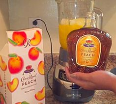 Make a Peach Crown Royal Slushie with Kool Aid Easy Alcoholic Drinks, Liquor Drinks, Whiskey Drinks, Fun Drinks, Cocktail Drinks, Cocktails, Scotch Whiskey, Irish Whiskey, Party Drinks