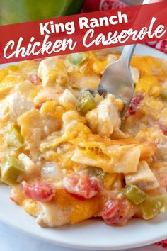 This King Ranch Chicken Casserole is a combo of chopped chicken, cheese, tortillas, and spicy tomatoes in a creamy sauce, and is a sure-fire hit. via @familyfresh Easy Casserole Recipes, Casserole Dishes, Soup Recipes, King Ranch Chicken Casserole, Crockpot Chicken Casserole, Mexican Chicken Casserole, Ranch Chicken Recipes, Crockpot Ranch Chicken, Mexican Food Recipes