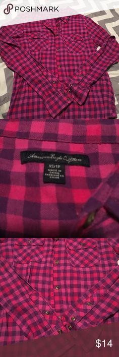 AE flannel! New!!! 💕 Never worn! Adorable pink & purple button up, flannel. American Eagle Outfitters Tops Button Down Shirts