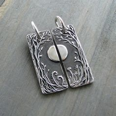 Personalized Pendants Set, Forest Moon, Artisan Handmade, Fine Silver Completing Pair, Original SilverWishes Design