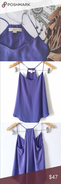 LOFT periwinkle purple tank Flowy and elegant! Can be dressed up or down. Has lining on the inside. No stains or tears. Pet and smoke free home. **Perfect for a girls night out, an interview, or simply a casual day in summer with jeans.** LOFT Tops Tank Tops