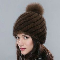 Knitted Mink Winter Beanies Cap With Fox For Women