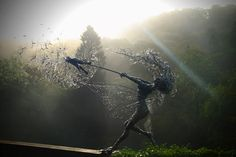 Fairy Sculpture Dancing With Dandelions by Robin Wight