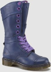 $160 =TRIUMPH 1914 WOMENS - 12 eyelet lace up boot; leather is mirage soft, lightly grained; buckle detail above heel, lined with little flowers fabric, can be worn folded over to let the lining rule, 2 lace options- ribbon and flat waxes