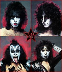 Kiss with Eric Carr and Vinnie Vincent. Paul Stanley, Gene Simmons, Banda Kiss, Kiss Group, Rock Band Photos, Kiss World, Kiss Members, Kiss Me Love, 80s Hair Bands