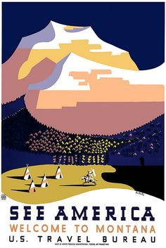 Vintage Travel Poster Montana Native America
