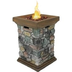 Add warmth and style to the patio, backyard or outdoor space with this Sunnydaze Decor Square Fiberglass Rock Column Design Propane Gas Fire Pit. Outdoor Propane Fire Pit, Outdoor Fire, Outdoor Decor, Fire Pit Coffee Table, Gas Fire Pit Table, Coffee Tables, Wood Burning Fires, Gas Fires, Fire Pit Video