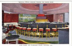 * Chez Paree Restaurant Art Deco Elbow Room Chicago Illinois Linen PC