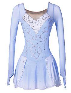 Robe de Patinage Artistique Femme Fille Patinage Robes Bleu/blanc Spandex Strass Paillété Haute élasticité Classique Mode Utilisation