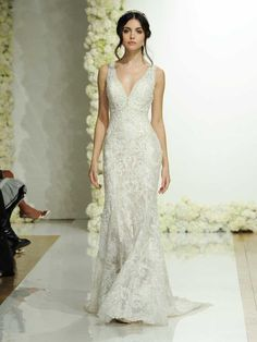 Morilee Spring 2019 Collection fitted sheath sleeveless wedding dress with embroidered appliqués and beading