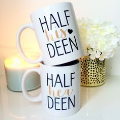 Half his deen Half her deen -Islamic mugs - islamic wedding Gift idea - Duo - mugs - gift idea - muslim - Islam Wedding gift