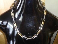 Vtge La Porte Bleue Bleu'e Paris GOLD & SILVER TONE Lock Chain Necklace Signed