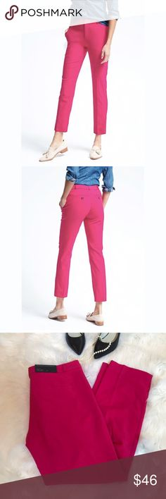 """Banana Republic Ryan Fit Ankle Pants size 10P New with tags, Banana Republic Ryan fit Ankle Pants. Bright pink lightweight wool slim fit straight cut. Zip fly with hook and bar closure. 10 petite. 27"""" inseam. Perfect condition. Banana Republic Pants Ankle & Cropped"""