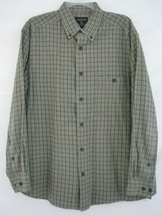 WOOLRICH Shirt PLAID Green Button Front Size L Men's