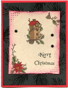Birdhouse Red Black Kraft by Stampin Granny - Cards and Paper Crafts at Splitcoaststampers