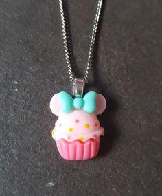 Cute Cupcake Resin Pendant Necklace - Pink & Blue