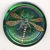 Old Czech glass dragonfly buttons.  These are over the top gorgeous  I have only a few of them.  In various colors, slightly domed, 30mm.  Metal loop shank.  Use as a button or a cab.  Sold individually.