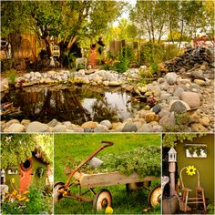 Patti Brisebois' Manitoba zone 3 garden. The pond is complete with koi and  goldfish, birds that wade in the stream and a calming waterfall....