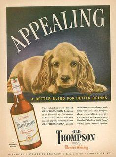 Vintage 1945 Old Thompson Print Advertisement  Liquor Print