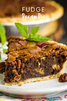 Rich, indulgent, and gooey, Chocolate Fudge Pecan Pie Recipe is quick and easy, requires no mixer, and has no corn syrup! It's a delicious new classic! #chocolate #fudge #pecan #pecanpie #chocolatepie #dessert #recipe Pecan Pie Fudge Recipe, Fudge Pie, Chocolate Fudge, Cooking Chocolate, Chocolate Recipes, Chocolate Deserts, Easy No Bake Desserts, Best Dessert Recipes, Sweet Desserts