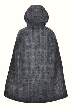 Birkin Dusk Hooded - A wardrobe must have for all year around, this cape is luxuriously crafted in a dark check from Harris Tweed; world renowned for it's heritage, style and quality. With a large, slouched hood you will be kept dry and warm. Capes For Women, Harris Tweed, Fashion Line, Birkin, Dusk, Stylish Outfits, Vintage Inspired, Hoods, High Neck Dress