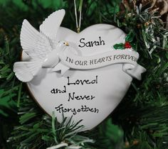 personalized christmas tree decoration ornament in our hearts forever memorial celebrate the memory of a loved one get your desired names on the item - Christmas Decorations In Memory Of A Loved One