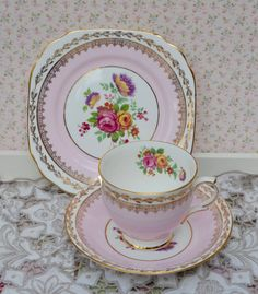 Cavour Tea Cup Trio- Tea Cup, Saucer, Tea Plate, Vintage English Pink, Floral, Gilt Bone China, Excellent Condition by ImagineHowCharming on Etsy
