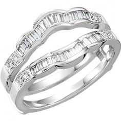 14kt White Gold Round Diamond Ring Guard Wrap Enhancer