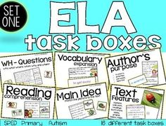Are you tired of boring worksheets! Looking for something new? Here are 16 Primary task boxes that are all related to the ELA standards, that can be used in small groups, independent centers, one on one instruction and take-home boxes for homework for