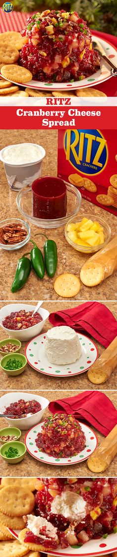 Instead of roasting chestnuts this winter, try our RITZ Cranberry Cheese Spread. Mix cranberry sauce, green onions or jalapeños, pineapple tidbits and chopped toasted pecans together. Place the block of cream cheese on a serving plate and top with the sweet and spicy mixture. Yum!